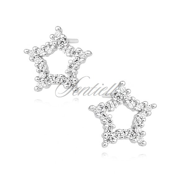 Silver (925) star earrings with zirconia