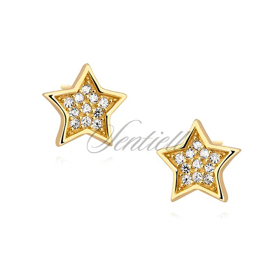 Silver (925) stars earrings with zirconia, gold-plated