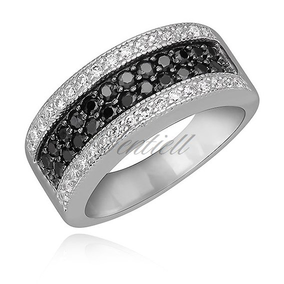 Silver (925) stylish ring with black zirconia