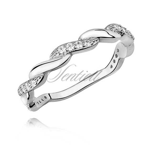 Silver (925) subtle, braid ring with zirconia