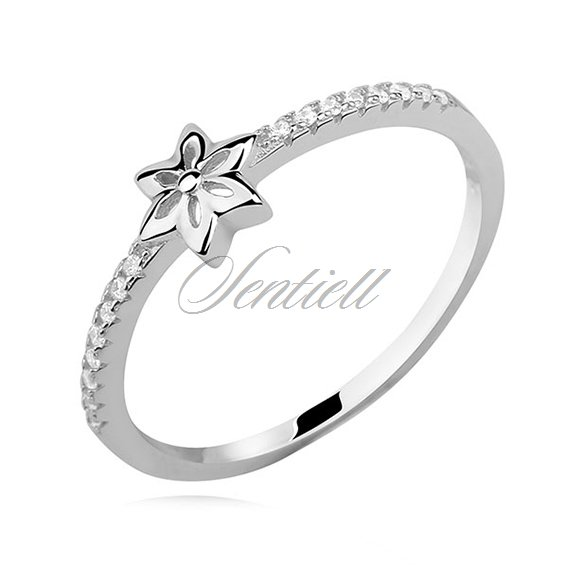 Silver (925) subtle ring with white zirconia - flower