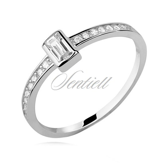 Silver (925) subtle ring with white zirconia - rectangle