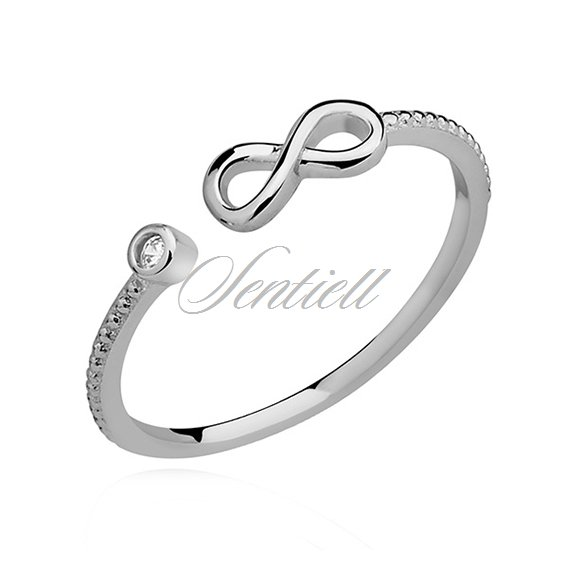 Silver (925) subtle ring with white zirconia tear - Infinity