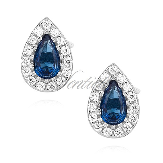 Silver (925) teardrops earrings with sapphire zirconia
