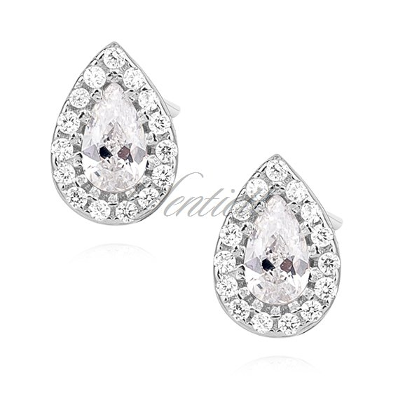 Silver (925) teardrops earrings with zirconia