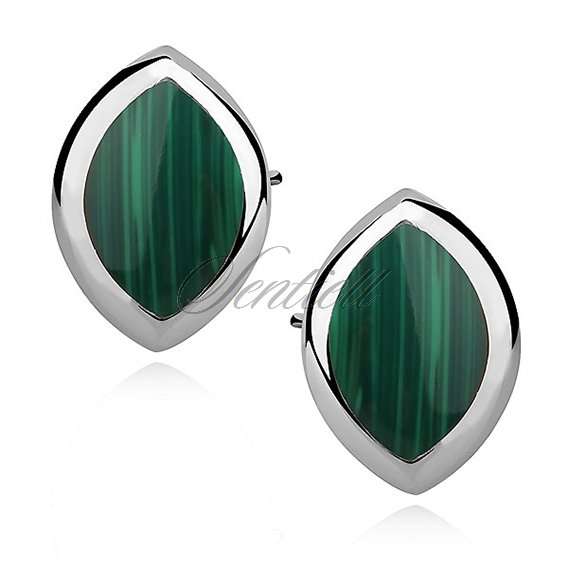 Silver earrings 925 marquise - malachite