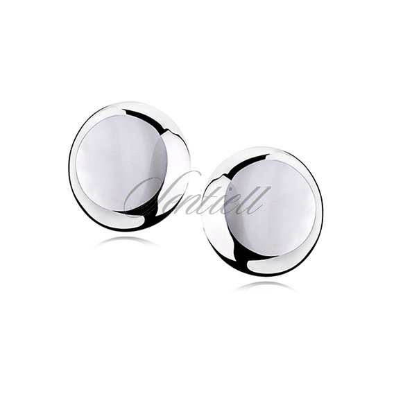 Silver earrings 925 round - Opal