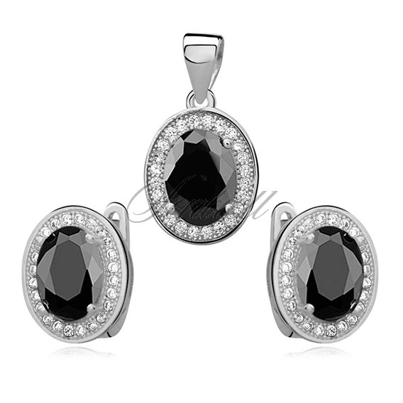 Silver elegant set (925) black oval zirconia