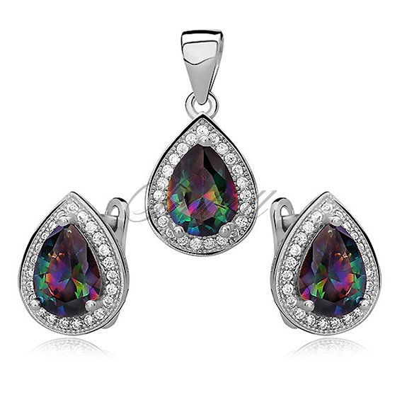 Silver fascinating set (925) zirconia - multicolor teardrop