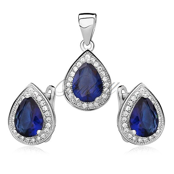 Silver fascinating set (925) zirconia - sapphire teardrop