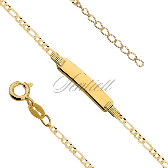 Silver gold-plated figaro bracelet with a tag - adjusted length