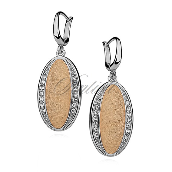Silver, oval (925) earrings gold-plated with satin effect