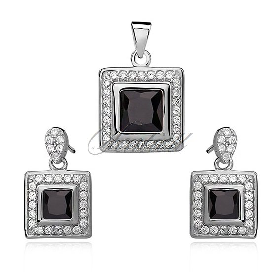 Silver set (925) black zirconia in double frame