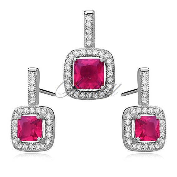 Silver set (925) ruby, square zirconia adored with microsetting