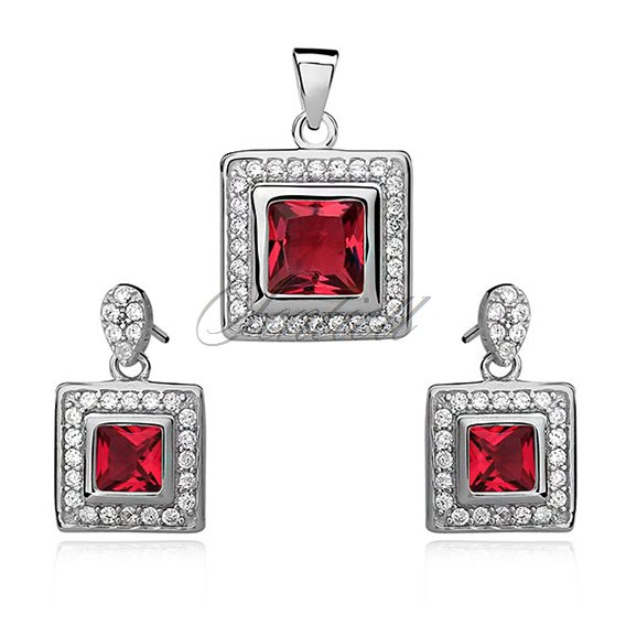 Silver set (925) ruby zirconia in double frame