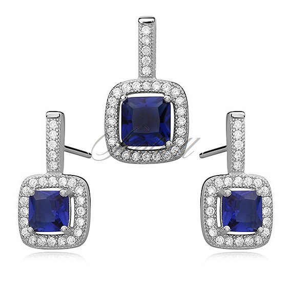 Silver set (925) sapphire, square zirconia adored with microsetting