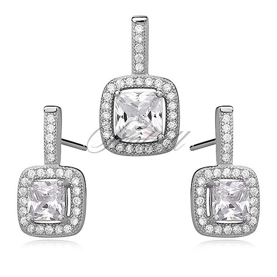 Silver set (925) white, square zirconia adored with microsetting