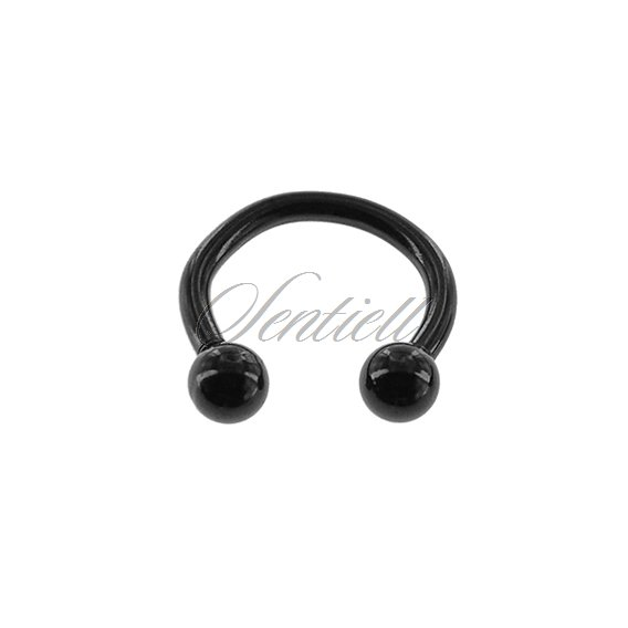Stainless steel (316L) horseshoe piercing with balls - black