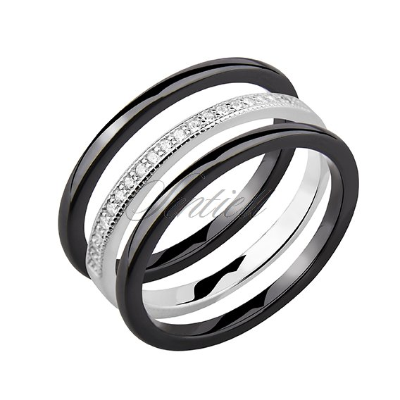 Two black ceramic rings and silver ring with zirconia