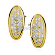 Silver (925) Earrings oval shape - zirconia microsetting gold-plated