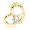 Silver (925) pendant white zirconia - gold-plated heart single zircon