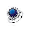 Silver (925) ring with big sapphire colored zirconia