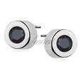 Silver (925) round earrings black zirconia