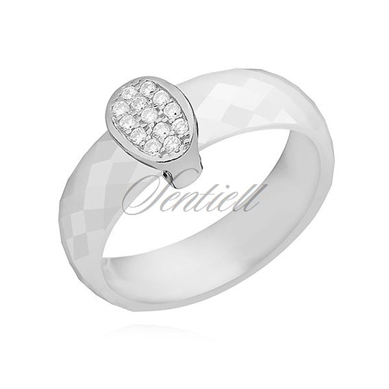 Ceramic white ring, with silver (925) oval element with zirconia
