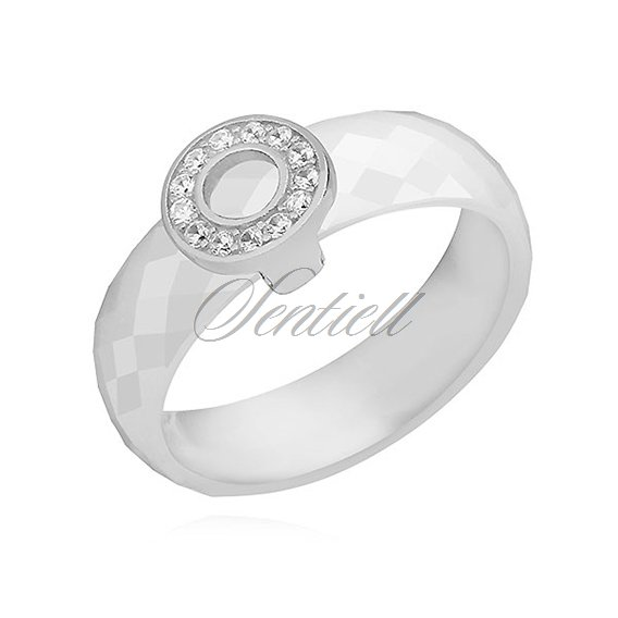 Ceramic white ring, with silver (925) round element with zirconia