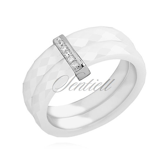 Double ceramic white ring, with silver (925) rectangular element with zirconia