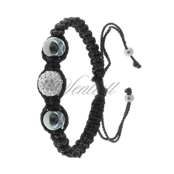 Rope bracelet (925) with hematite and 1 white disco ball