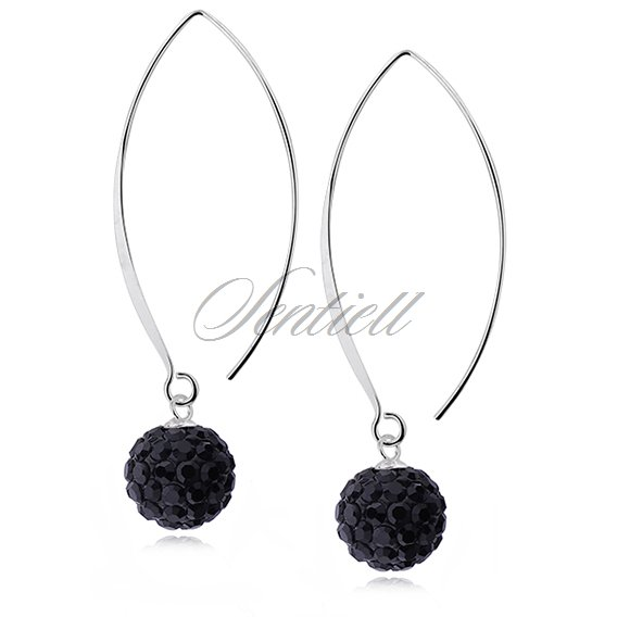 Silver (925) Earrings disco ball 10mm black coloured ear hook