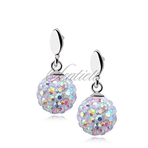 Silver (925) Earrings disco ball 8mm multicolor
