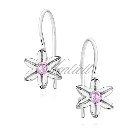 Silver (925) Earrings light pink colored zirconia