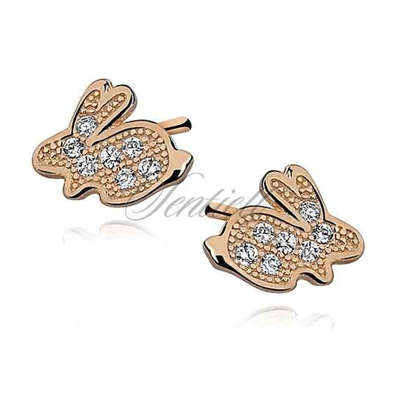 Silver (925) Earrings zirconia microsetting bunny gold-plated
