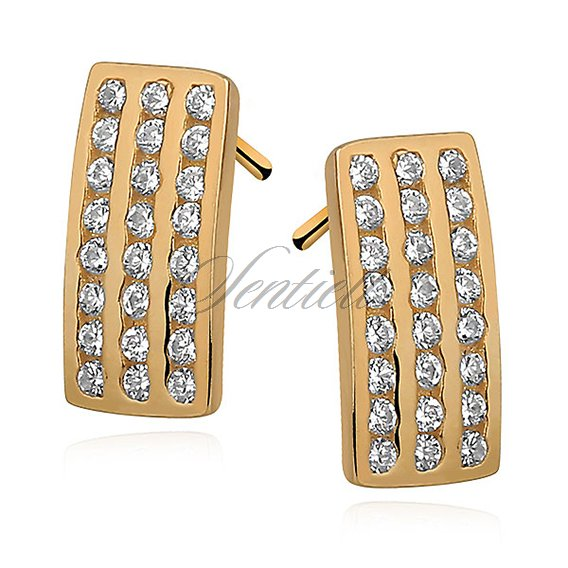 Silver (925) Earrings - zirconia microsetting gold-plated