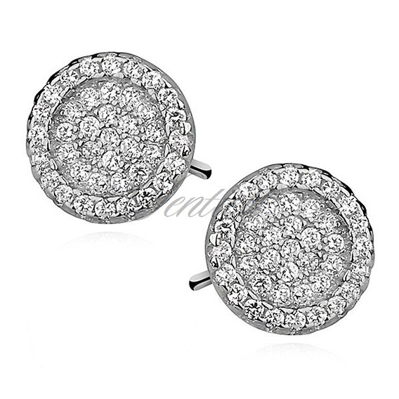 Silver (925) Earrings zirconia microsetting round, rhodium-plated