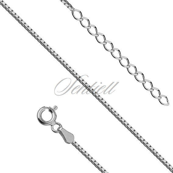Silver (925) Venetian box anklet bracelet, diamond-cut - rhodium plated