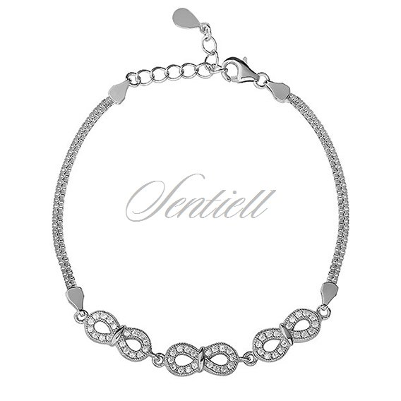Silver (925) beauty bracelet with white zirconia - Infinity, double chain