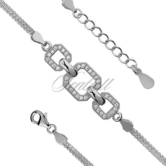 Silver (925) beauty bracelet with white zirconia sqares, double chain