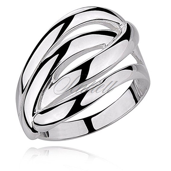 Silver (925), big highly polished ring