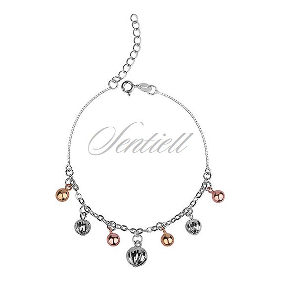 Silver (925) bracelet adored with diamound-cut elements