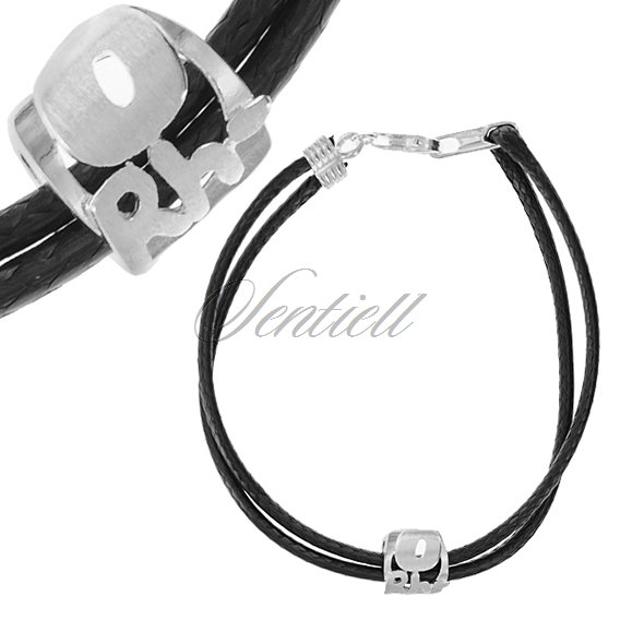 Silver (925) bracelet, black cord- Blood type 0Rh-