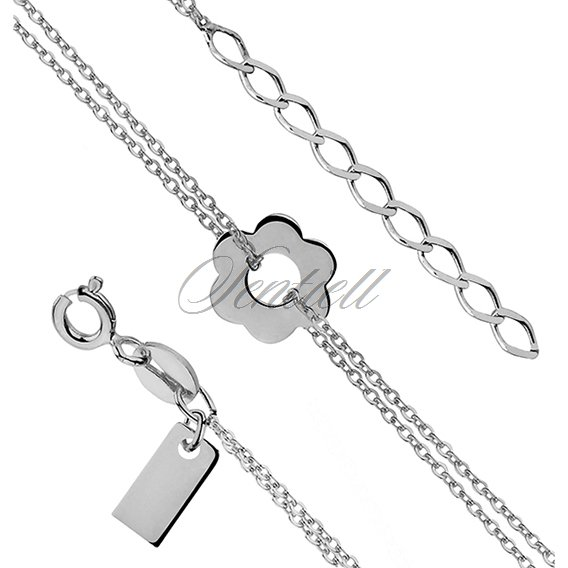 Silver (925) bracelet - flower pendant with double chain