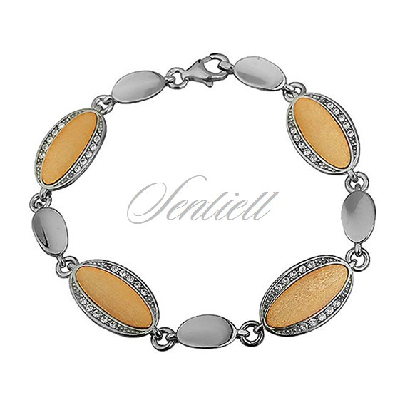 Silver (925) bracelet - gold-plated oval with zirconia
