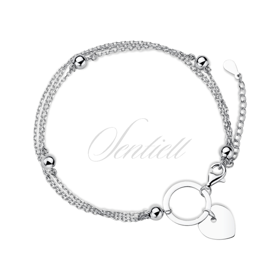 Silver (925) bracelet heart and circle