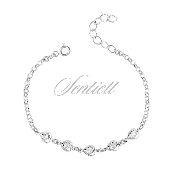 Silver (925) bracelet - hearts with zirconia
