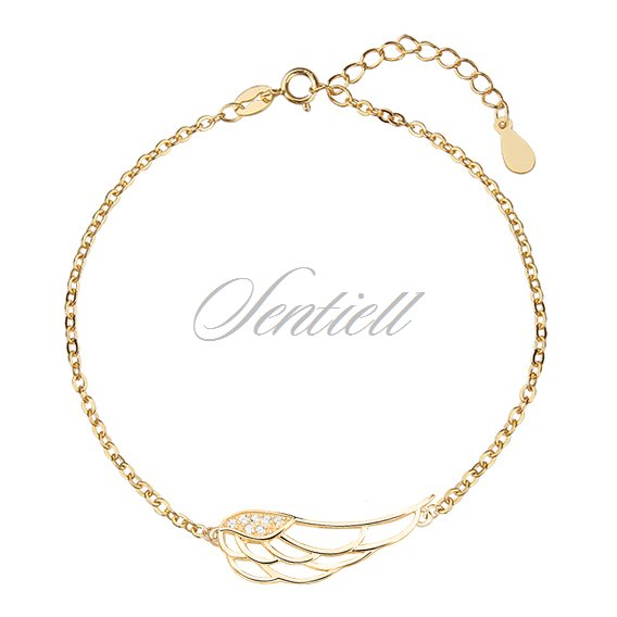 Silver (925) bracelet - wing with zirconia, gold-plated