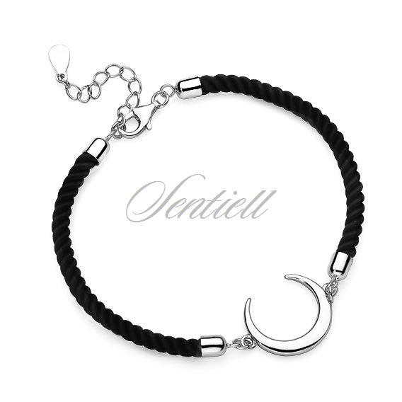Silver (925) bracelet with black cord - crescent