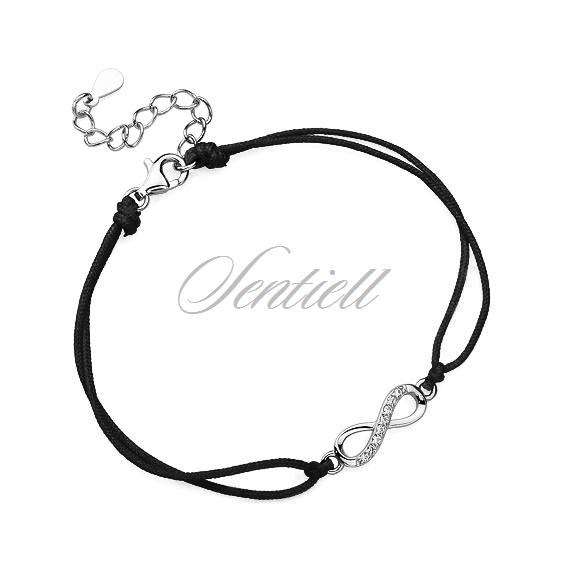 Silver (925) bracelet with black cord - infinity with zirconia